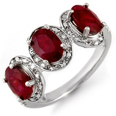 Genuine 3.08 ctw Ruby & Diamond Ring 10K White Gold