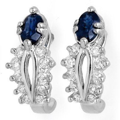Genuine 0.90 ctw Blue Sapphire & Diamond Earrings Gold