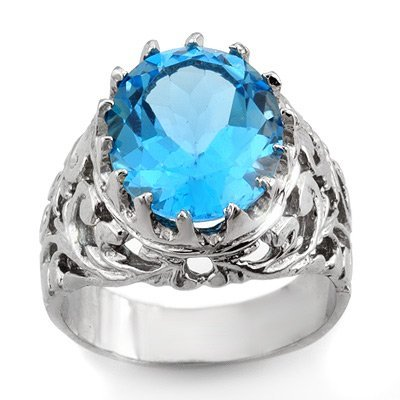 Genuine 10.0 ctw Blue Topaz Men's Ring 10K White Gold
