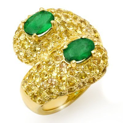 Genuine 5.5 ctw Emerald & Yellow Sapphire Ring 10K Gold