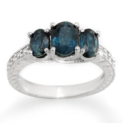 Genuine 3.25ctw Blue Sapphire & Diamond Ring White Gold
