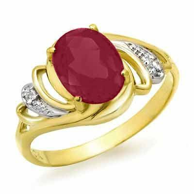 Genuine 2.25 ctw Ruby & Diamond Ring 14K Yellow Gold