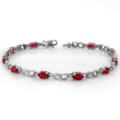 Genuine 3.51 ctw Ruby & Diamond Bracelet White Gold