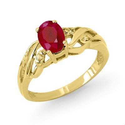 Genuine 1.02 ctw Ruby & Diamond Ring 10K White Gold