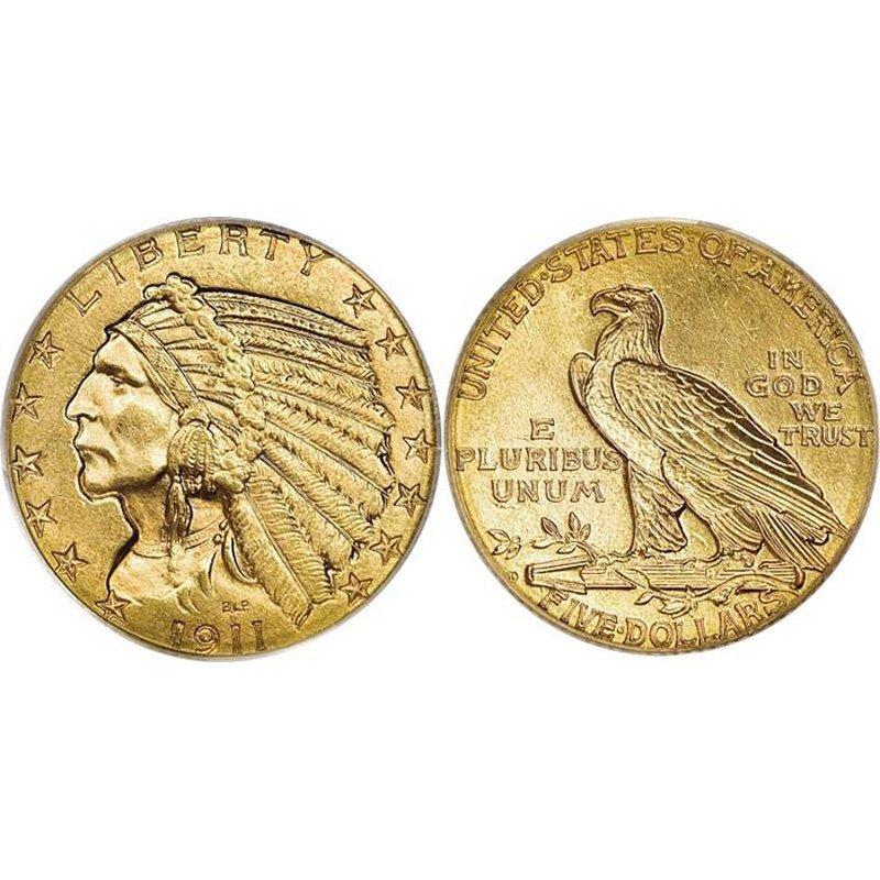 $5 Indian Gold - Half Eagle - 1908 to 1929 - Random dat