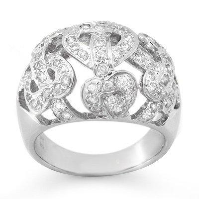 Natural 0.85 ctw Diamond Ring 10K White Gold