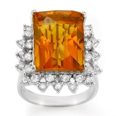 Genuine 17.15 ctw Citrine & Diamond Ring 10K White Gold