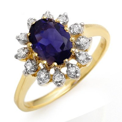 Genuine 1.22 ctw Iolite & Diamond Ring 10K Yellow Gold