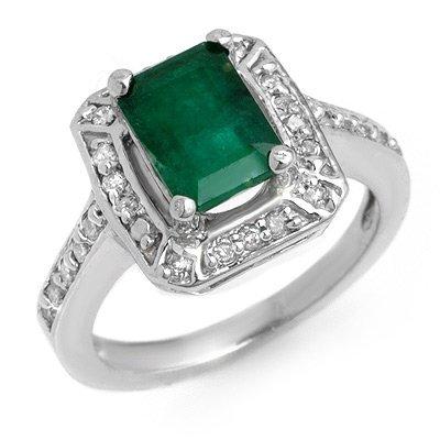 Genuine 2.40 ctw Emerald & Diamond Ring 14K White Gold