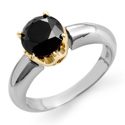 Natural 1.75 ctw Black Diamond Ring 14K Multi tone Gold