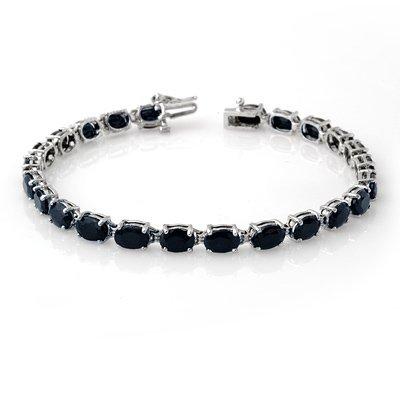 Genuine 17.8 ctw Sapphire Bracelet 10K White Gold