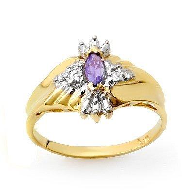 Genuine 0.22 ctw Tanzanite & Diamond Ring 10K Gold