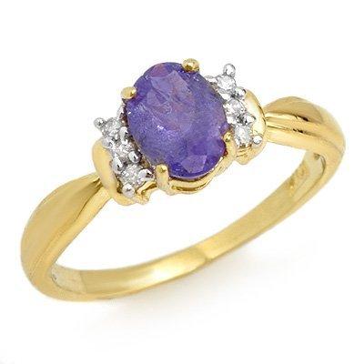 Genuine 1.0ct Tanzanite & Diamond Ring 14K Yellow Gold
