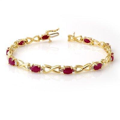 Genuine 8.50 ctw Ruby & Diamond Bracelet Yellow Gold