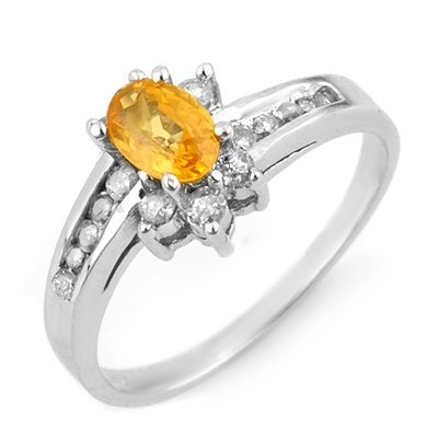 Genuine 1.05ctw Yellow Sapphire & Diamond Ring 14K Gold