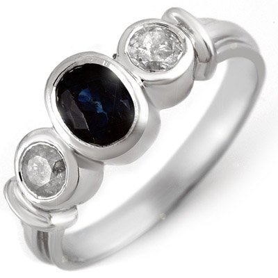 Genuine 1.05 ctw Blue Sapphire & Diamond Ring 14K White