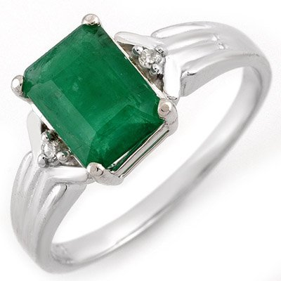 Genuine 1.53 ctw Emerald & Diamond Ring 10K White Gold