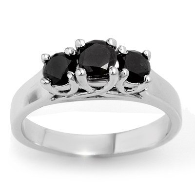 Natural 0.55 ctw Black Diamond Ring 14K White Gold