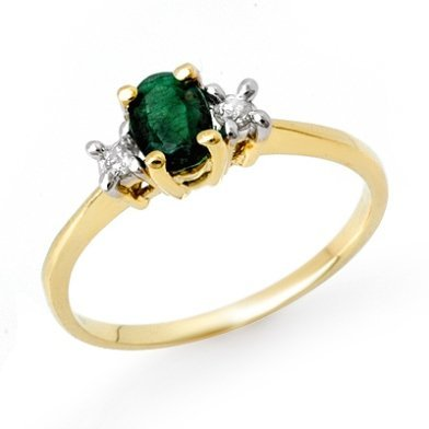 Genuine 1.04 ctw Emerald & Diamond Ring 10K Yellow Gold