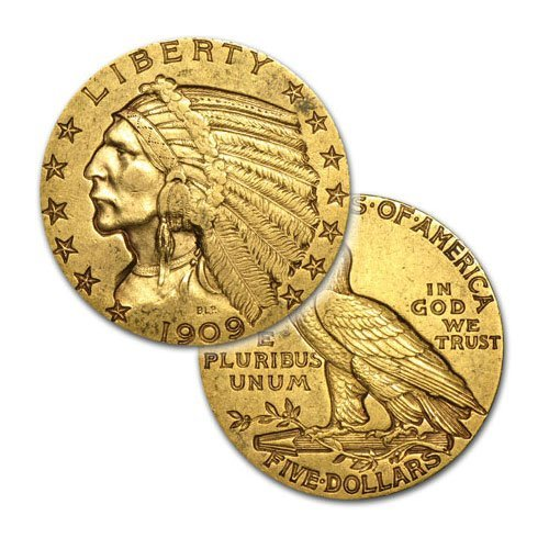 $5 Indian Gold - Half Eagle - 1908 to 1929 - Random dat