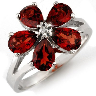 Genuine 2.52 ctw Garnet & Diamond Ring 10K White Gold