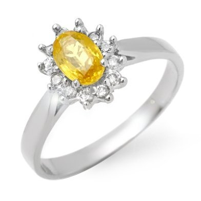 Genuine 0.83ctw Yellow Sapphire & Diamond Ring 14K Gold