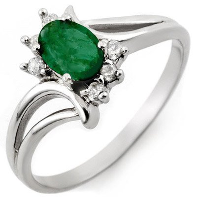 Genuine 0.50 ctw Emerald & Diamond Ring 10K White Gold