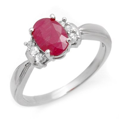 Genuine 1.26 ctw Ruby & Diamond Ring 10K White Gold