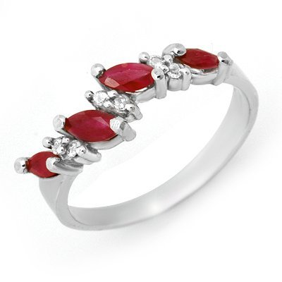 Genuine 0.61 ctw Ruby & Diamond Ring 10K White Gold