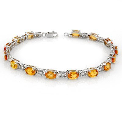 Genuine 11 ctw Yellow Sapphire Bracelet 10K White Gold
