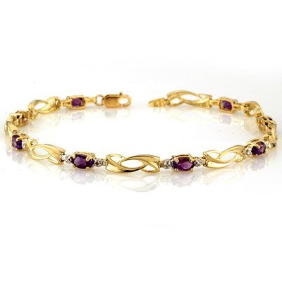 Genuine 2.02 ctw Amethyst & Diamond Bracelet 10K Gold