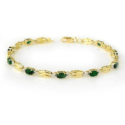 Genuine 2.70 ctw Emerald Bracelet 10K Yellow Gold
