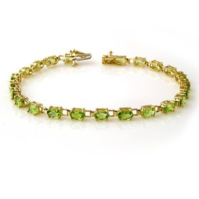 Genuine 60 ctw Peridot Bracelet 10K Yellow Gold