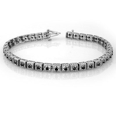 Natural 1.0 ctw Black Diamond Bracelet 10K White Gold