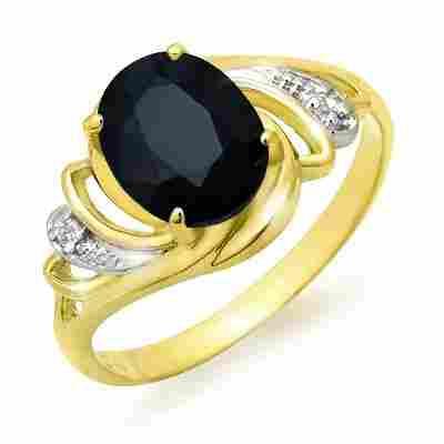 Genuine 2.53 ctw Sapphire & Diamond Ring Yellow Gold