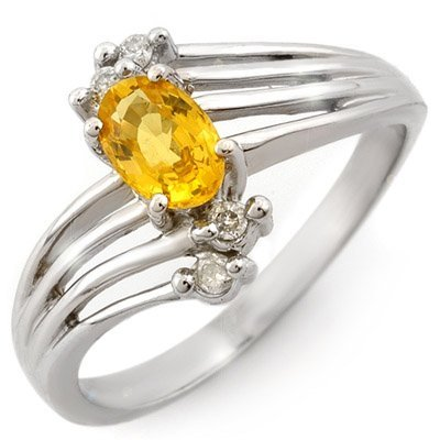 Genuine 0.80ctw Yellow Sapphire & Diamond Ring 10K Gold
