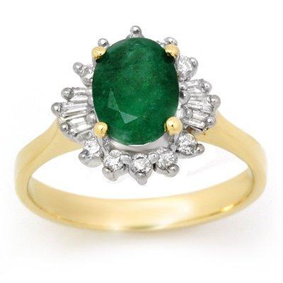 Genuine 1.18 ctw Emerald & Diamond Ring 14K Yellow Gold