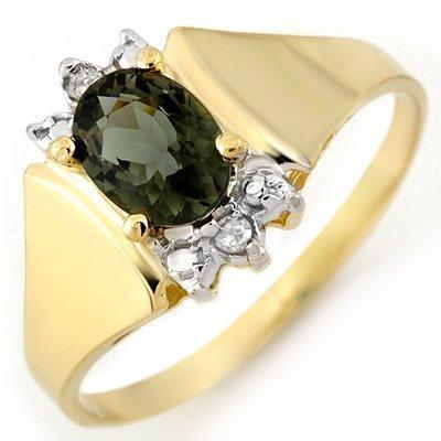 Genuine 1.04 ctw Green Tourmaline & Diamond Ring Gold