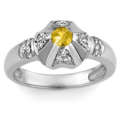 Genuine 0.37 ctw Yellow Sapphire & Diamond Ring 14k