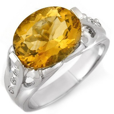 Genuine 4.6 ctw Citrine & Diamond Ring 10K White Gold
