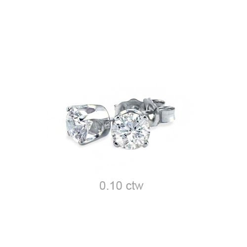 Natural 0.10 ctw Diamond Stud Earrings 14K White Gold