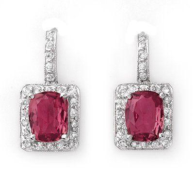 Genuine 3.50ctw Pink Tourmaline & Diamond Earrings Gold