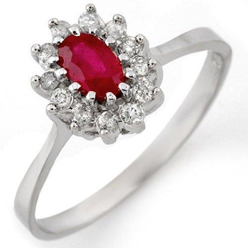 Genuine 0.60 ctw Ruby & Diamond Ring 14K White Gold