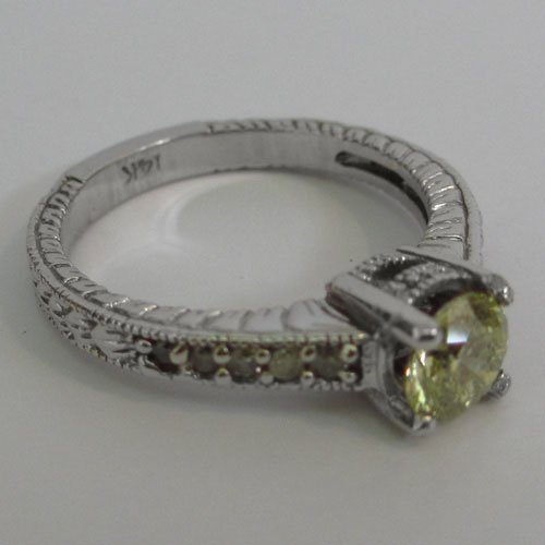 14KT White Gold Bridal Ring with Natural Diamonds