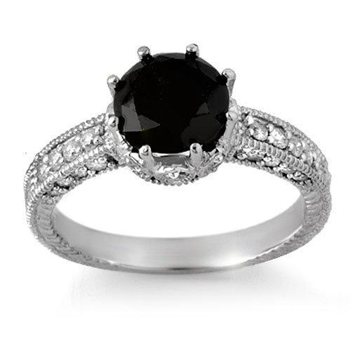 Natural 2.0 ctw Black Diamond Engagement Ring 14K White