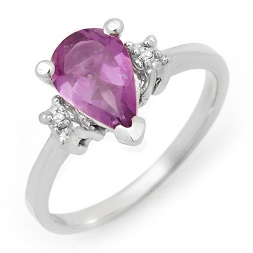 Genuine 1.78 ctw Amethyst & Diamond Ring 10K White Gold