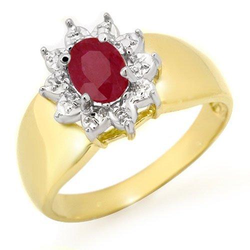 Genuine 0.50 ctw Ruby Ring 10K Yellow Gold