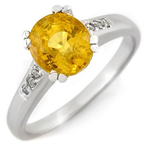 Genuine 2.35ctw Yellow Sapphire & Diamond Ring 10K Gold