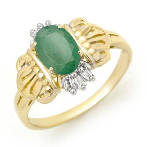 Genuine 0.81 ctw Emerald & Diamond Ring 10K Yellow Gold