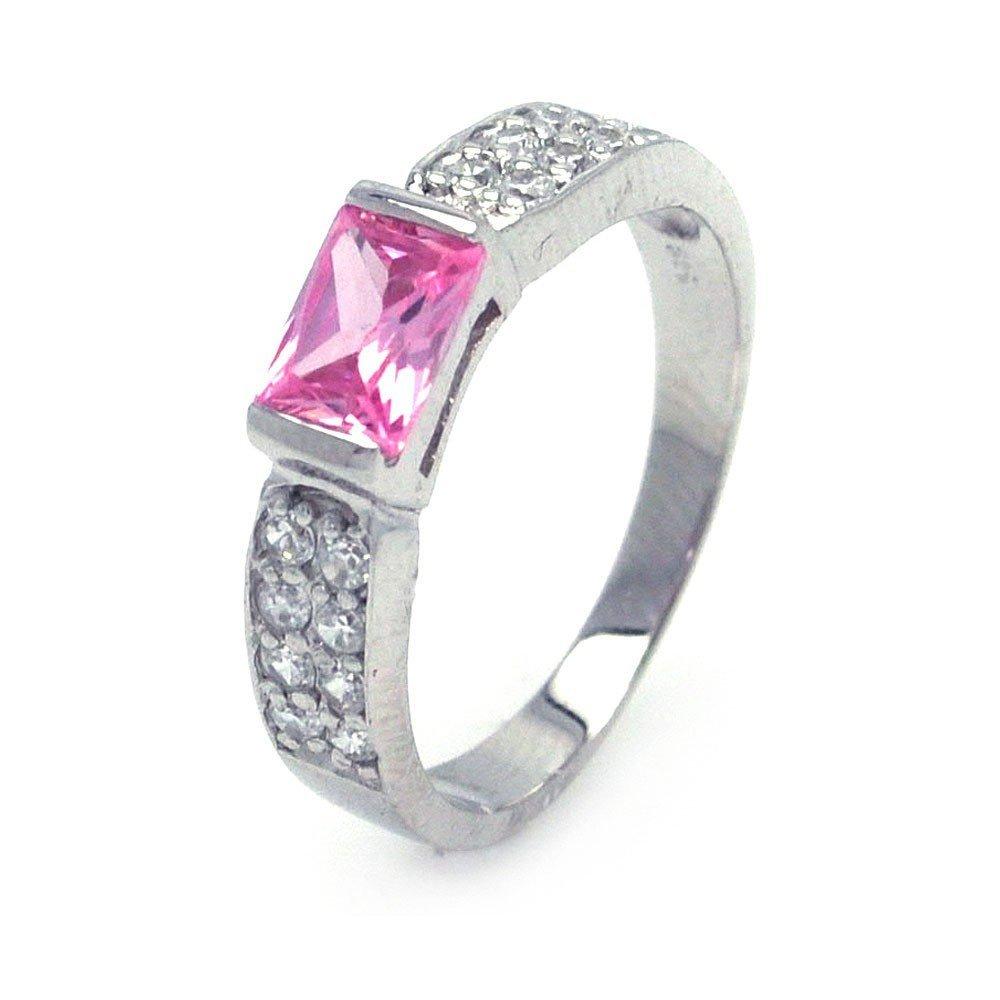 Silver Rings CZ .925 Ladies Sterling Jewelry aar0002pnk